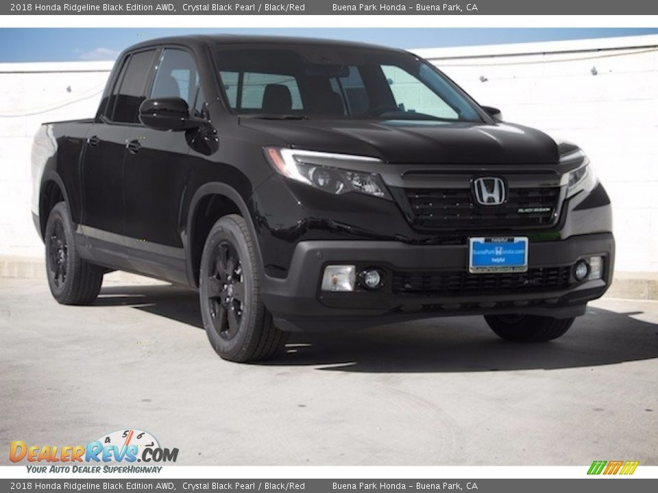 2018 Honda Ridgeline Black Edition AWD Crystal Black Pearl / Black/Red Photo #1