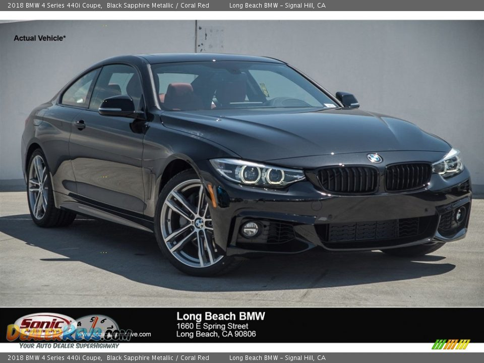 2018 BMW 4 Series 440i Coupe Black Sapphire Metallic / Coral Red Photo #1