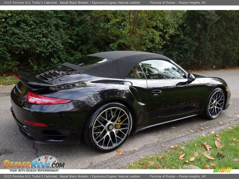 2015 Porsche 911 Turbo S Cabriolet Basalt Black Metallic / Espresso/Cognac Natural Leather Photo #6