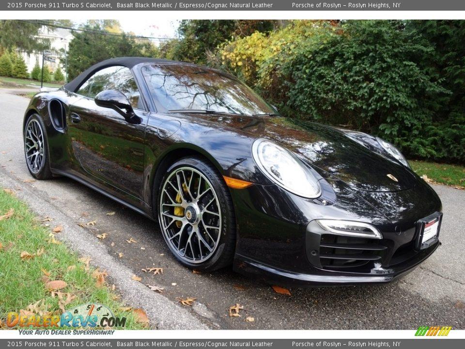 2015 Porsche 911 Turbo S Cabriolet Basalt Black Metallic / Espresso/Cognac Natural Leather Photo #8