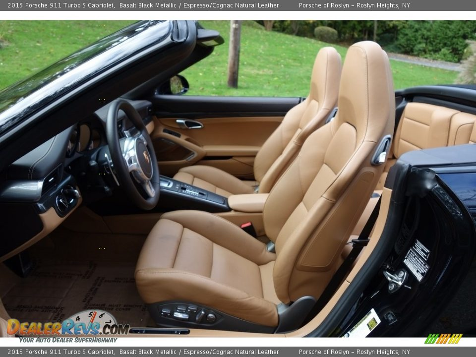 2015 Porsche 911 Turbo S Cabriolet Basalt Black Metallic / Espresso/Cognac Natural Leather Photo #12