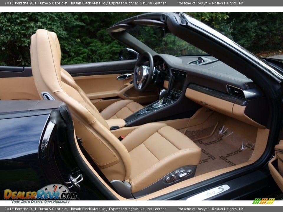 2015 Porsche 911 Turbo S Cabriolet Basalt Black Metallic / Espresso/Cognac Natural Leather Photo #14