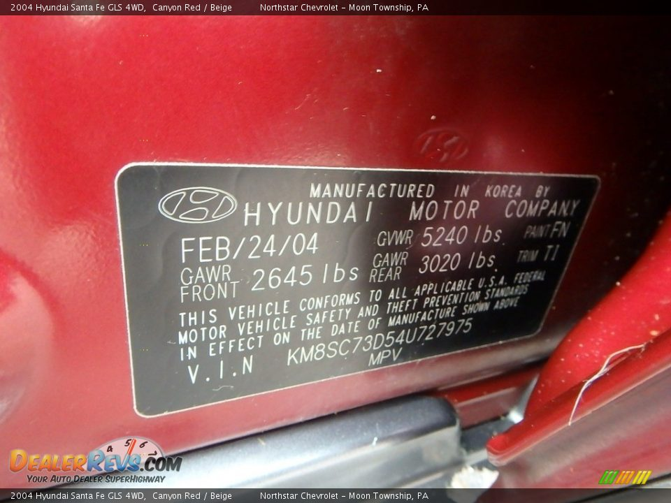 2004 Hyundai Santa Fe GLS 4WD Canyon Red / Beige Photo #14