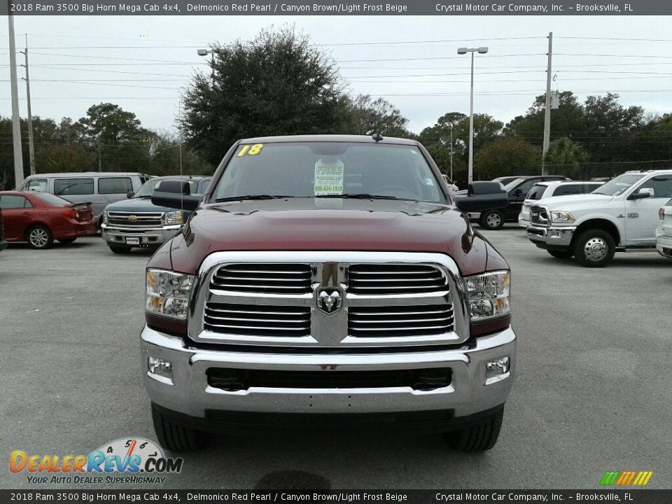 2018 Ram 3500 Big Horn Mega Cab 4x4 Delmonico Red Pearl / Canyon Brown/Light Frost Beige Photo #7