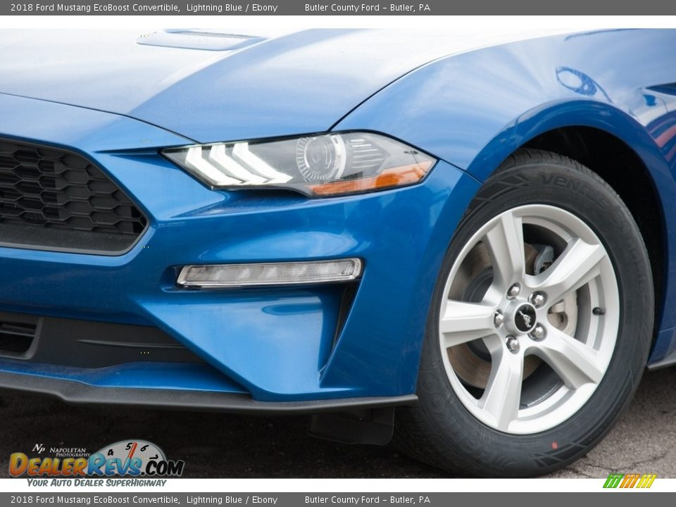 2018 Ford Mustang EcoBoost Convertible Lightning Blue / Ebony Photo #2