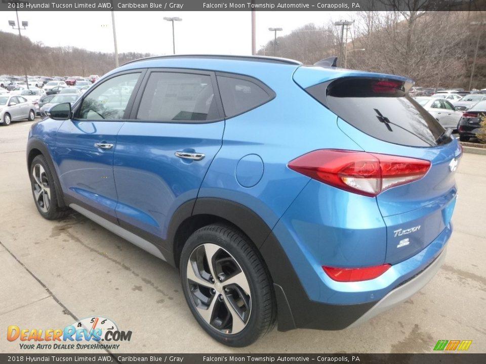 2018 Hyundai Tucson Limited AWD Caribbean Blue / Gray Photo #6