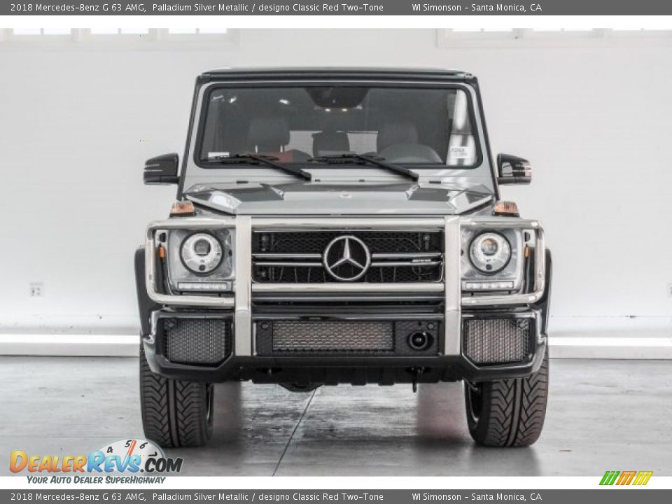 2018 Mercedes-Benz G 63 AMG Palladium Silver Metallic / designo Classic Red Two-Tone Photo #2
