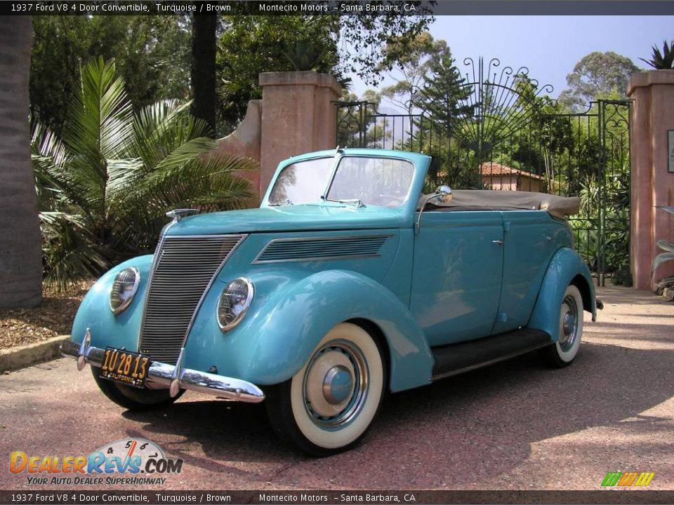 1937 ford v8 4 door convertible turquoise brown photo 1 for 1937 ford four door sedan