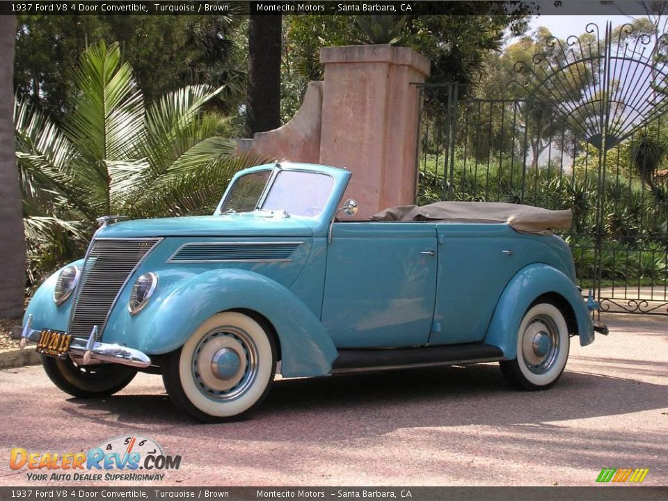 1937 ford v8 4 door convertible turquoise brown photo 2 for 1937 ford four door