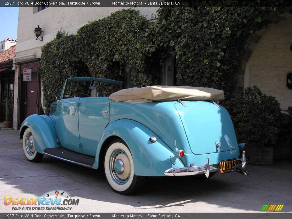 1937 ford v8 4 door convertible turquoise brown photo 4 for 1937 ford four door