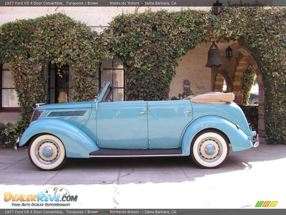 1937 ford v8 4 door convertible turquoise brown photo 5 for 1937 ford four door