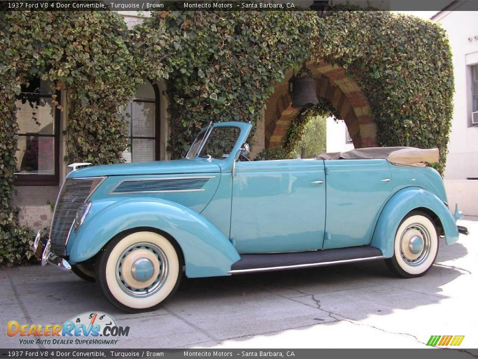 1937 Ford V8 4 Door Convertible Turquoise / Brown Photo #6