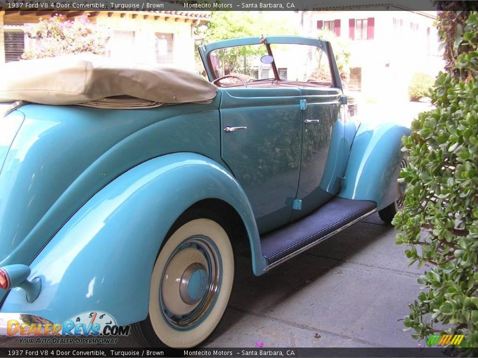 1937 ford v8 4 door convertible turquoise brown photo 7 for 1937 ford four door