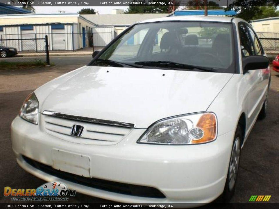 2003 Honda Civic LX Sedan Taffeta White / Gray Photo #3 ...