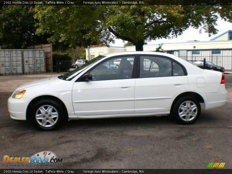 2003 Honda Civic Lx Sedan Taffeta White Gray Photo 5