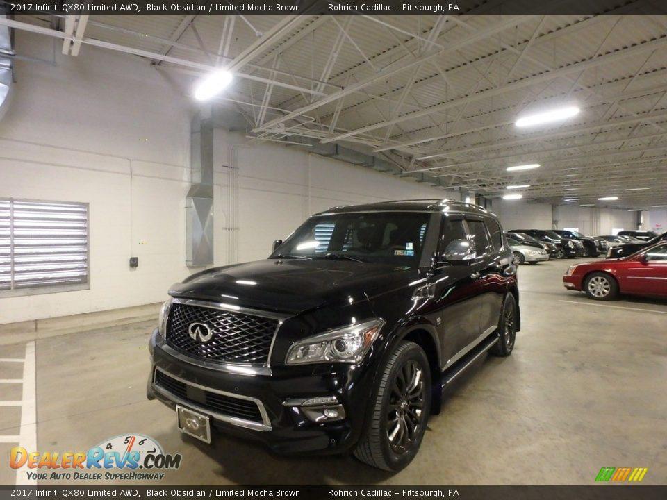 2017 Infiniti QX80 Limited AWD Black Obsidian / Limited Mocha Brown Photo #1