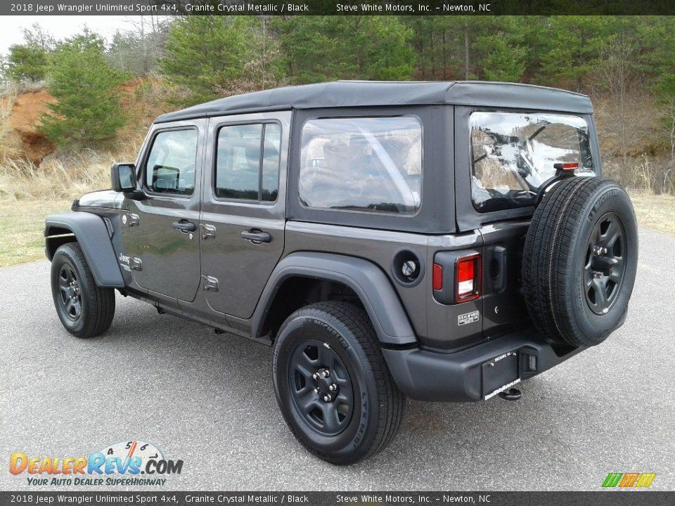 2018 Jeep Wrangler Unlimited Sport 4x4 Granite Crystal Metallic / Black Photo #8