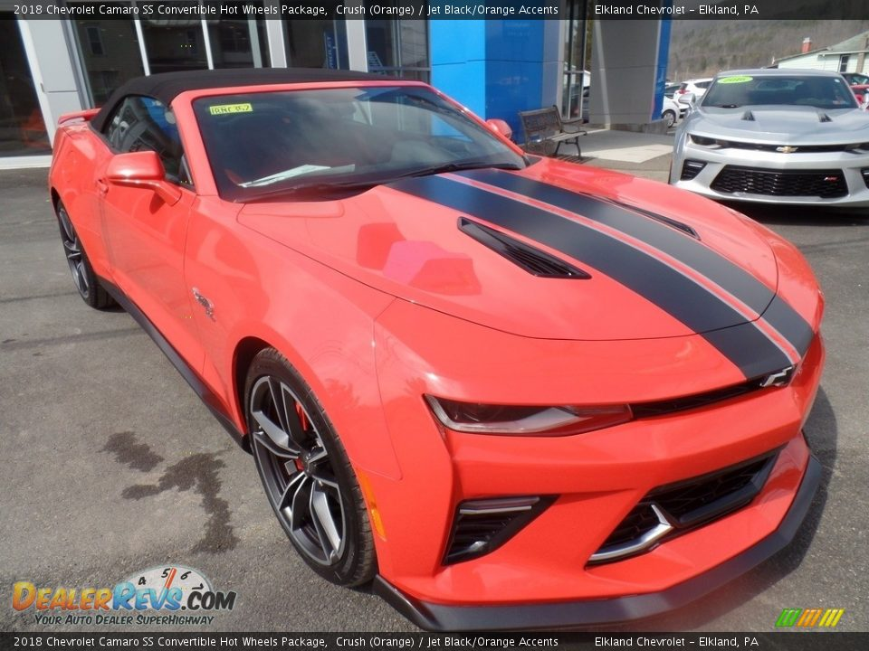 2018 Chevrolet Camaro SS Convertible Hot Wheels Package Crush (Orange) / Jet Black/Orange Accents Photo #12