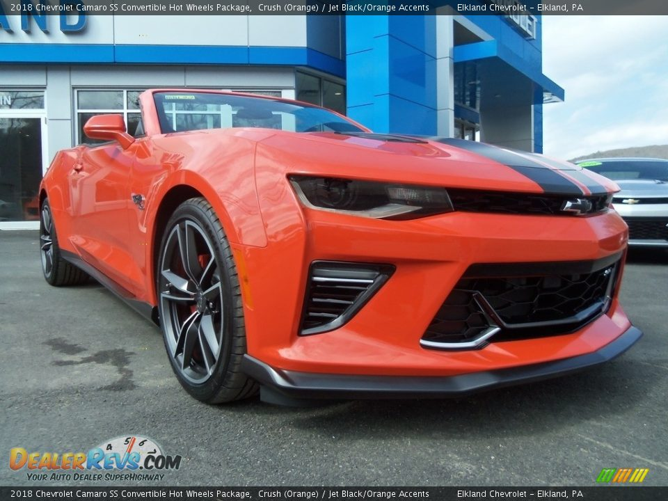 2018 Chevrolet Camaro SS Convertible Hot Wheels Package Crush (Orange) / Jet Black/Orange Accents Photo #22