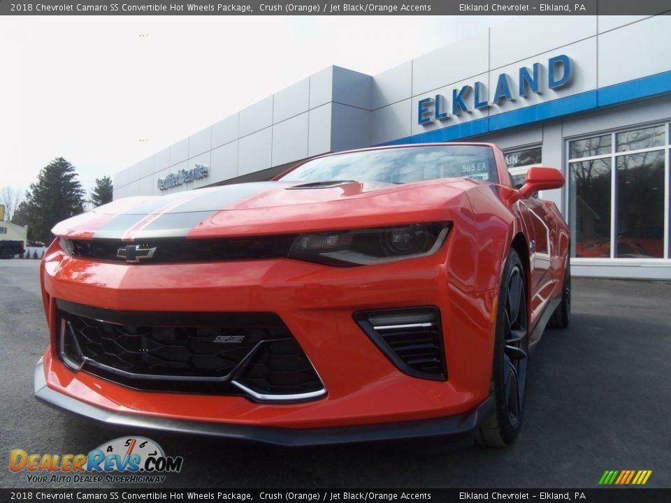 2018 Chevrolet Camaro SS Convertible Hot Wheels Package Crush (Orange) / Jet Black/Orange Accents Photo #31