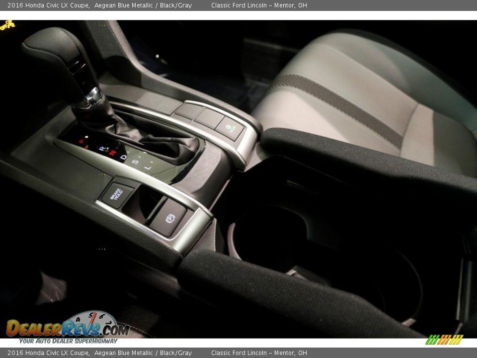 2016 Honda Civic LX Coupe Aegean Blue Metallic / Black/Gray Photo #10