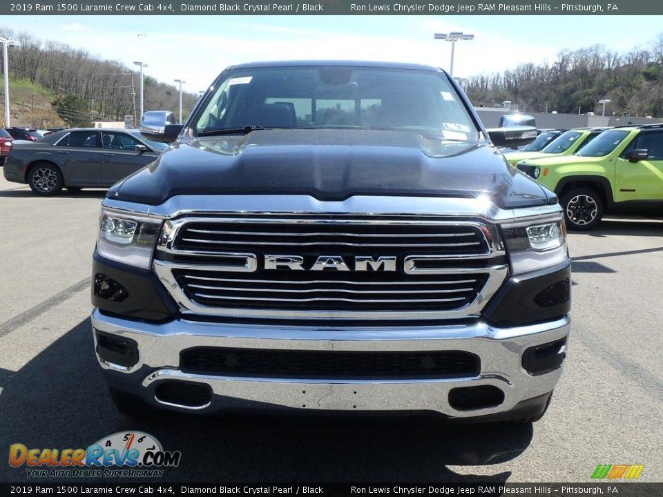 2019 Ram 1500 Laramie Crew Cab 4x4 Diamond Black Crystal Pearl / Black Photo #8
