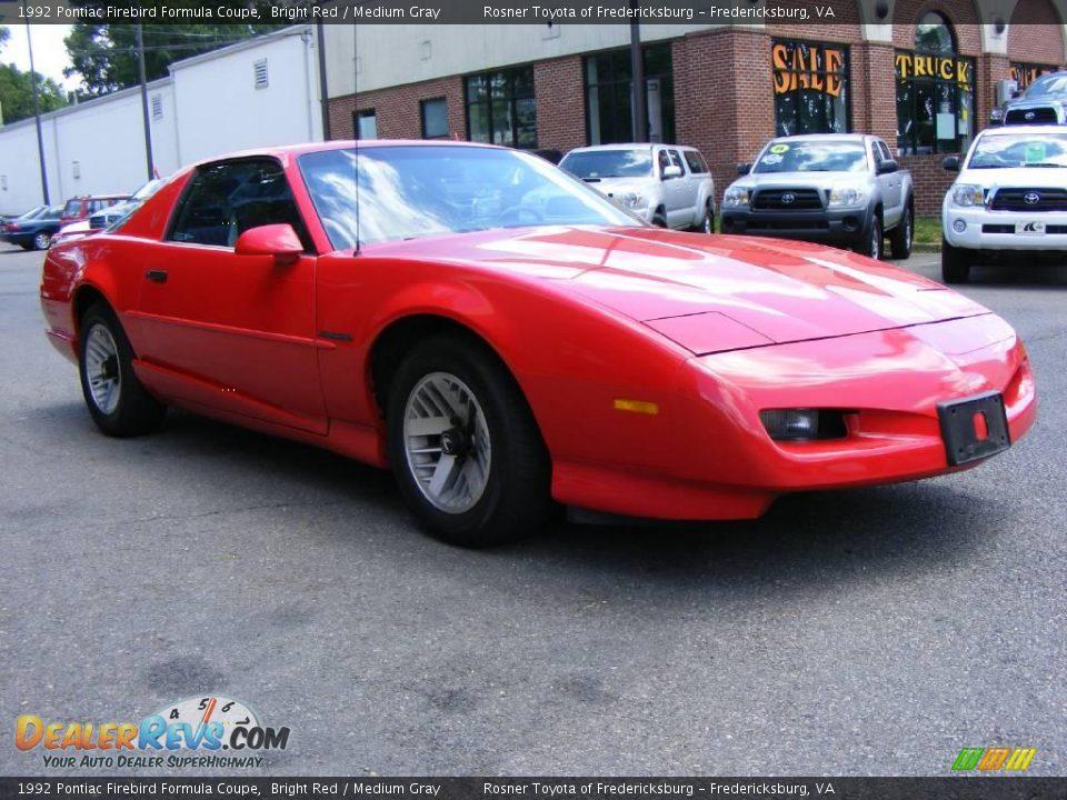 1992 Pontiac Firebird Formula Coupe Bright Red Medium Gray Photo 2 Dealerrevs Com