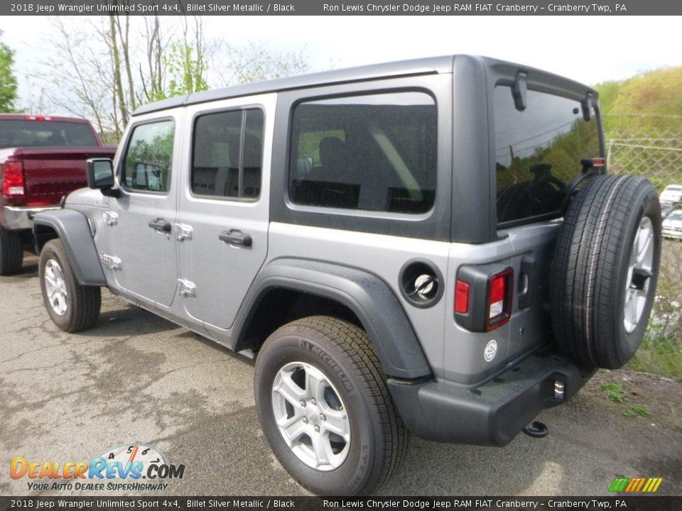 2018 Jeep Wrangler Unlimited Sport 4x4 Billet Silver Metallic / Black Photo #3