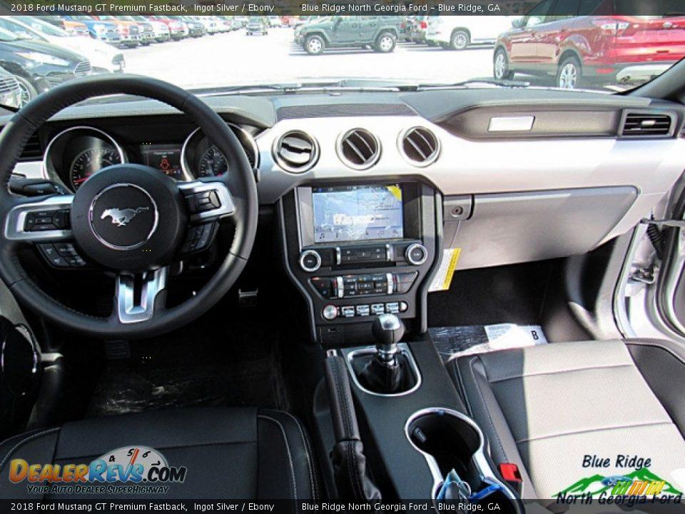 2018 Ford Mustang GT Premium Fastback Ingot Silver / Ebony Photo #14