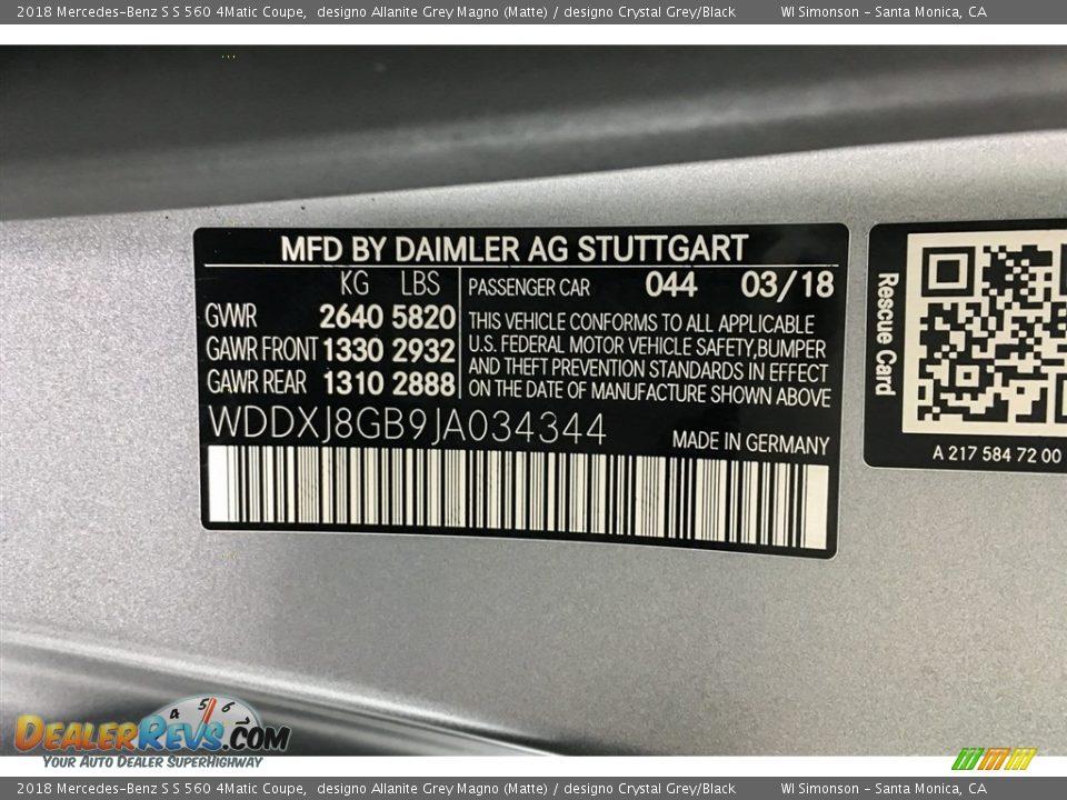 2018 Mercedes-Benz S S 560 4Matic Coupe designo Allanite Grey Magno (Matte) / designo Crystal Grey/Black Photo #23
