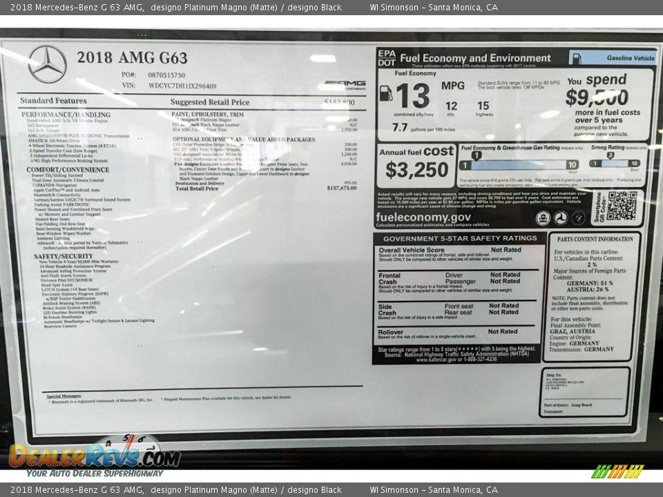 2018 Mercedes-Benz G 63 AMG Window Sticker Photo #23