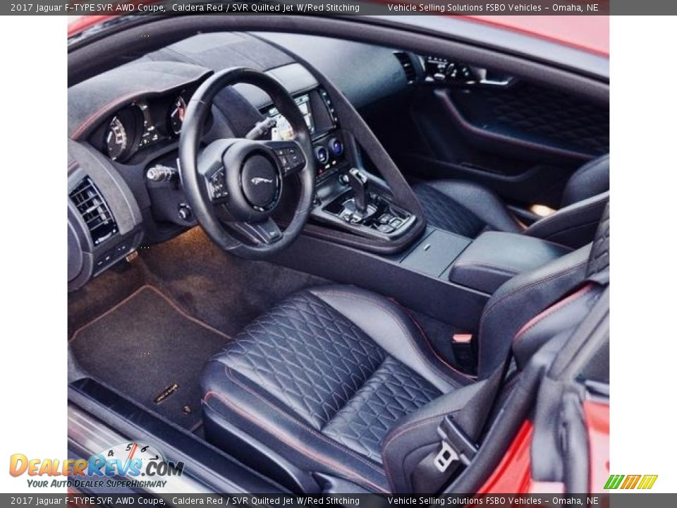 SVR Quilted Jet W/Red Stitching Interior - 2017 Jaguar F-TYPE SVR AWD Coupe Photo #3