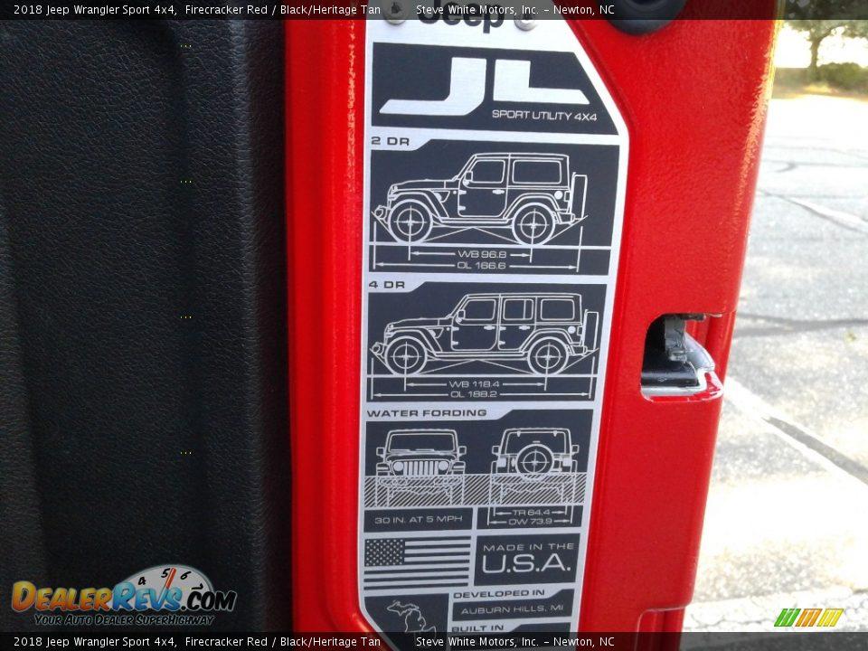 2018 Jeep Wrangler Sport 4x4 Firecracker Red / Black/Heritage Tan Photo #13