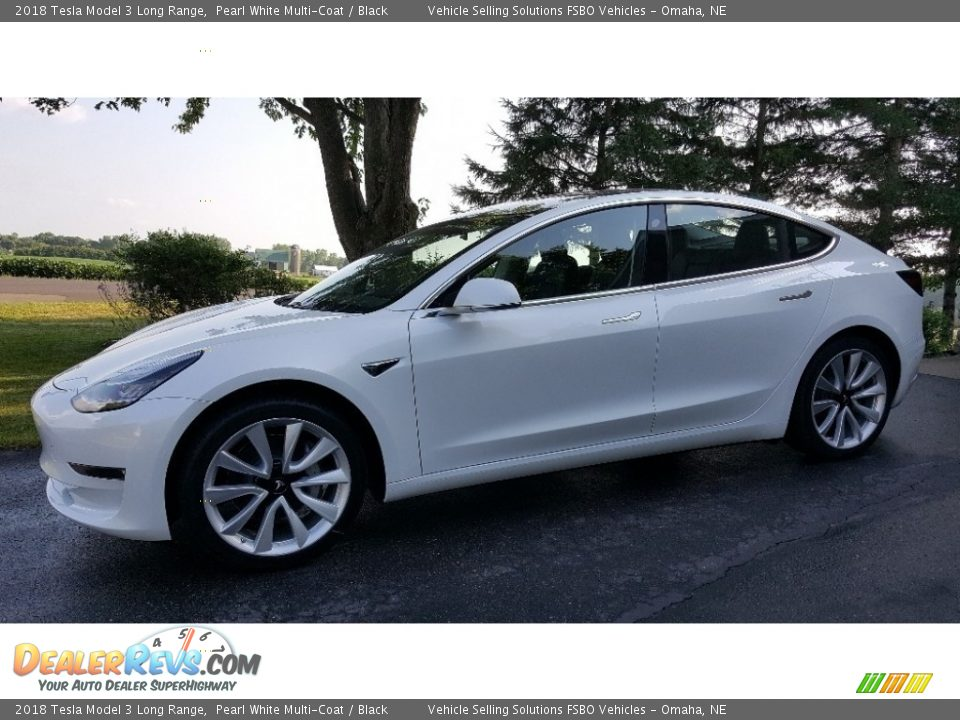 2018 Tesla Model 3 Long Range Pearl White Multi-Coat / Black Photo #3