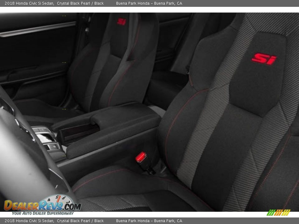 2018 Honda Civic Si Sedan Crystal Black Pearl / Black Photo #16