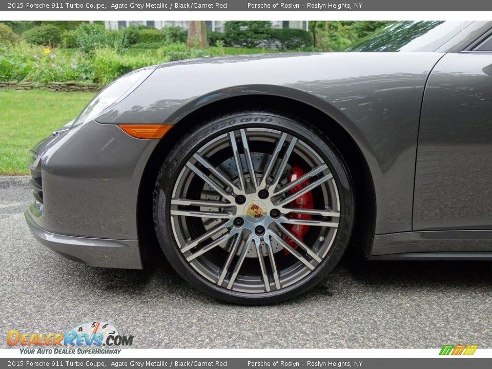 2015 Porsche 911 Turbo Coupe Agate Grey Metallic / Black/Garnet Red Photo #9