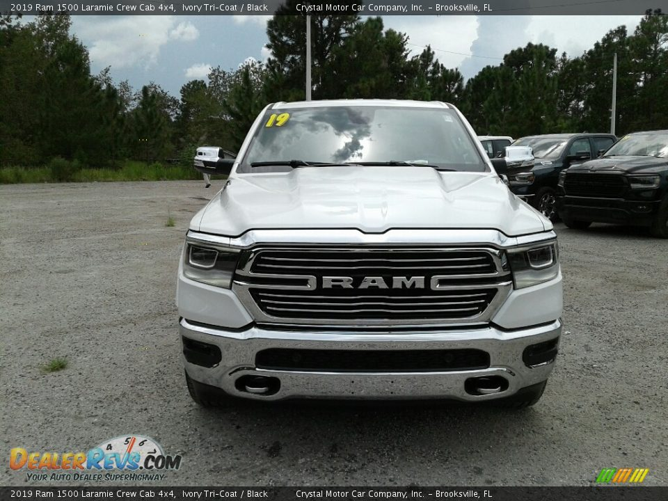 2019 Ram 1500 Laramie Crew Cab 4x4 Ivory Tri–Coat / Black Photo #8