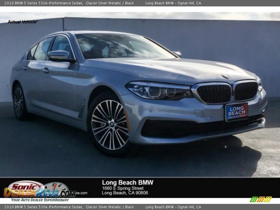 2019 BMW 5 Series 530e iPerformance Sedan Glacier Silver Metallic / Black Photo #1