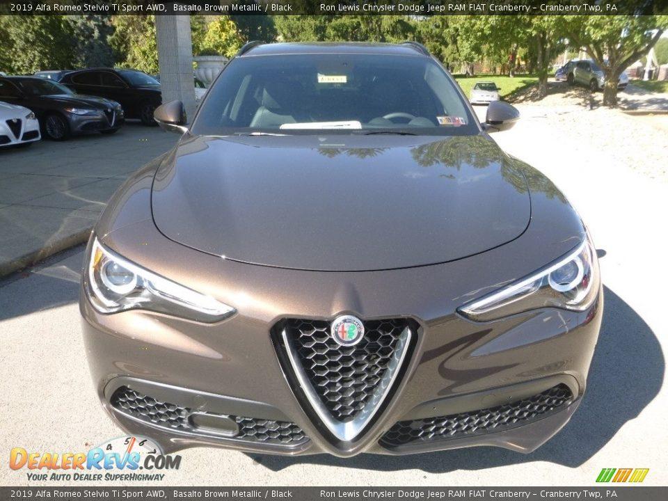 2019 Alfa Romeo Stelvio Ti Sport AWD Basalto Brown Metallic / Black Photo #10