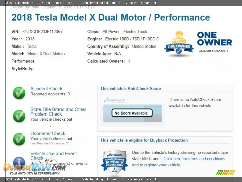 Dealer Info of 2018 Tesla Model X 100D Photo #2