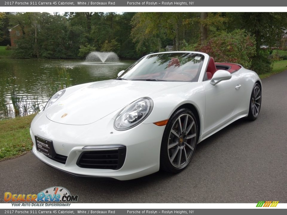 2017 Porsche 911 Carrera 4S Cabriolet White / Bordeaux Red Photo #1