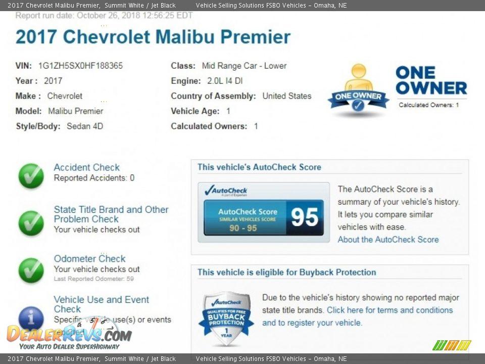 2017 Chevrolet Malibu Premier Summit White / Jet Black Photo #2