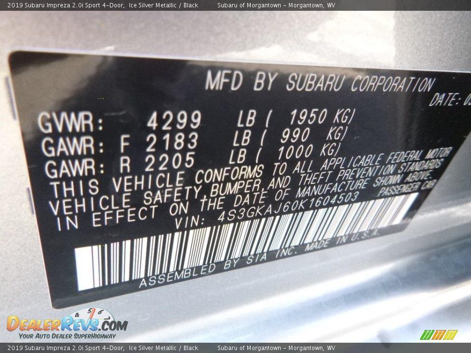 2019 Subaru Impreza 2.0i Sport 4-Door Ice Silver Metallic / Black Photo #15