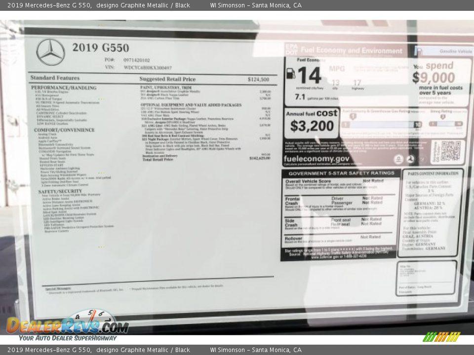 2019 Mercedes-Benz G 550 Window Sticker Photo #21