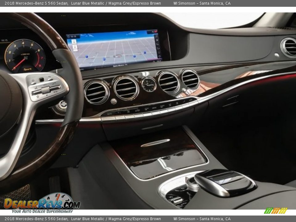 2018 Mercedes-Benz S 560 Sedan Lunar Blue Metallic / Magma Grey/Espresso Brown Photo #6