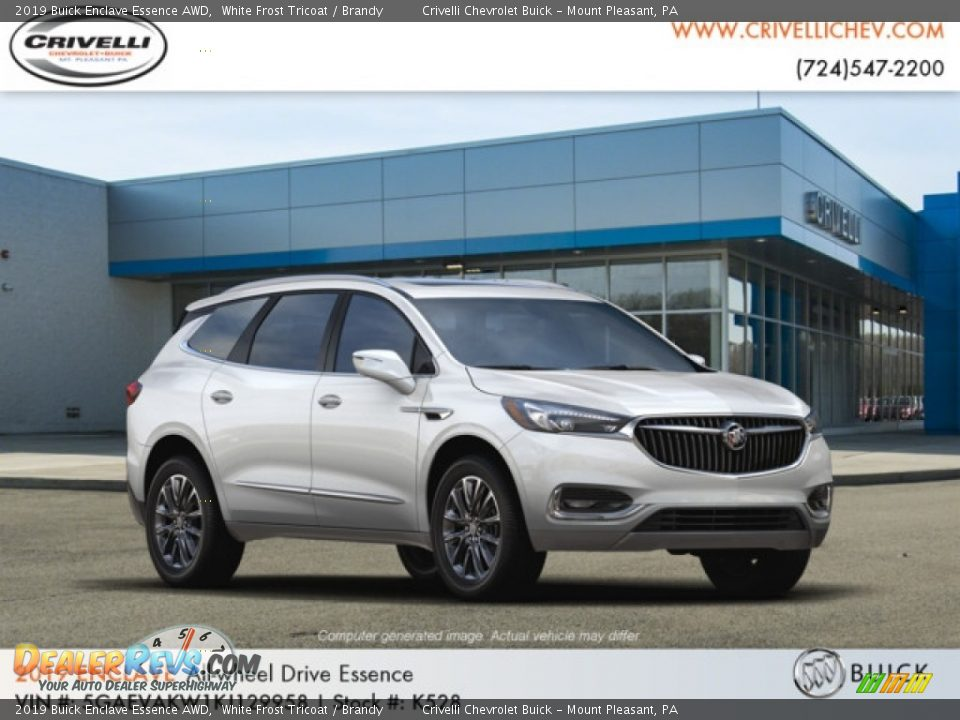 2019 Buick Enclave Essence AWD White Frost Tricoat / Brandy Photo #4