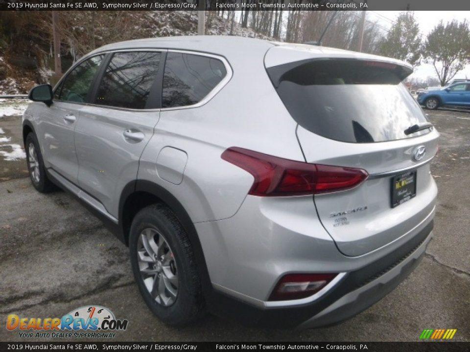 2019 Hyundai Santa Fe SE AWD Symphony Silver / Espresso/Gray Photo #6