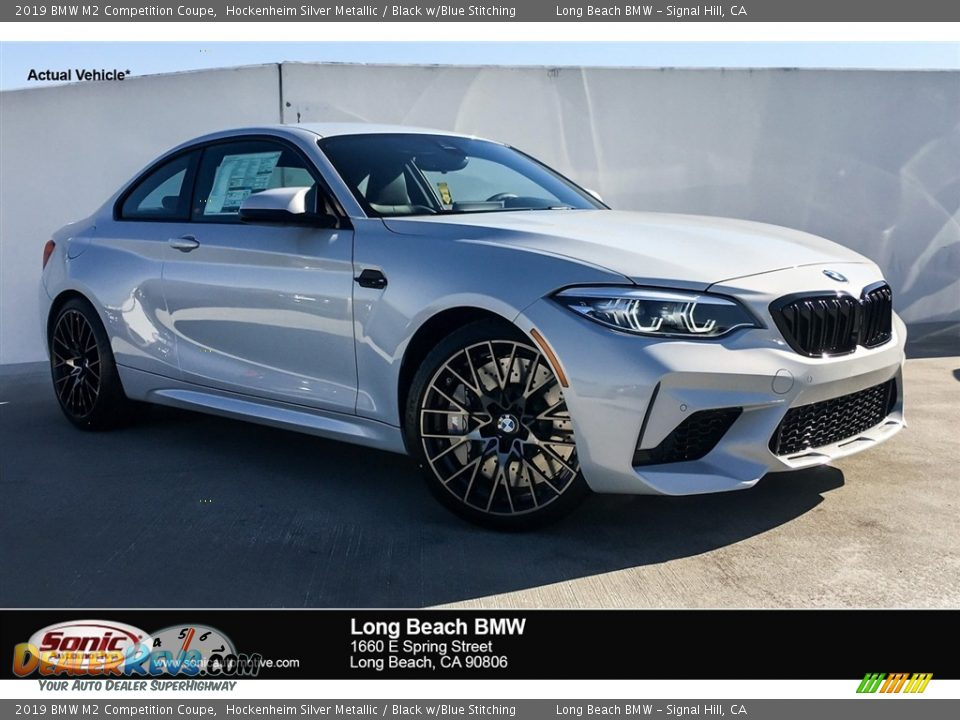 2019 BMW M2 Competition Coupe Hockenheim Silver Metallic / Black w/Blue Stitching Photo #1