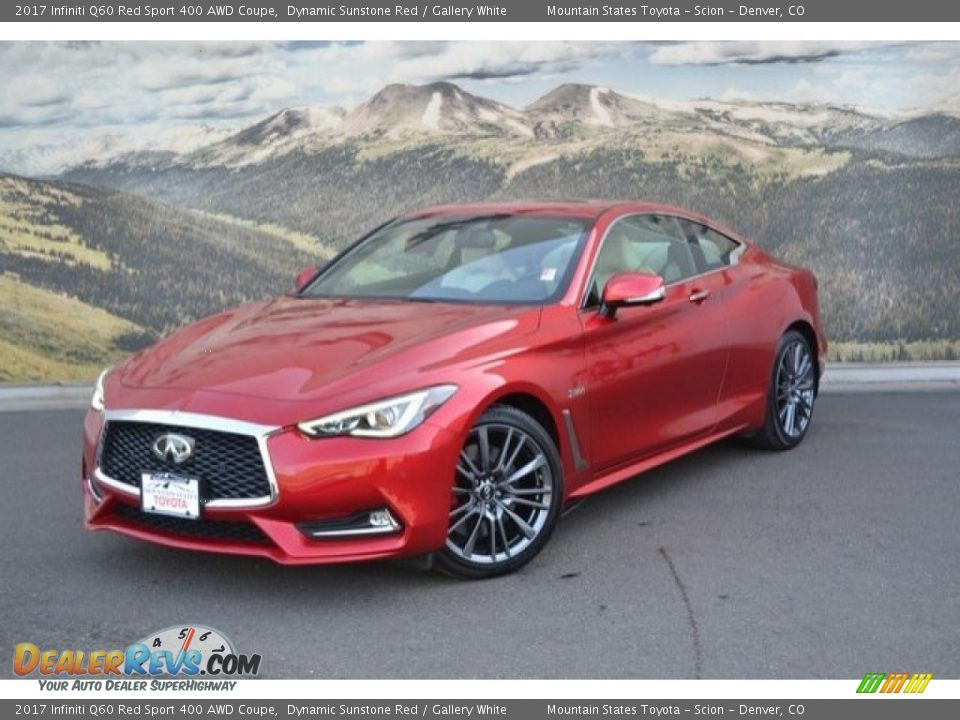 Front 3/4 View of 2017 Infiniti Q60 Red Sport 400 AWD Coupe Photo #5