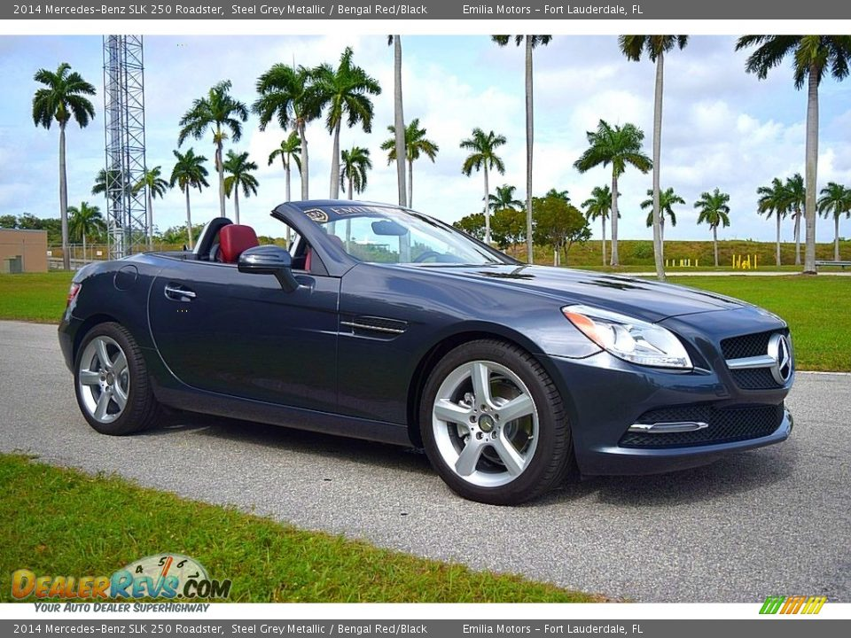 2014 Mercedes-Benz SLK 250 Roadster Steel Grey Metallic / Bengal Red/Black Photo #20